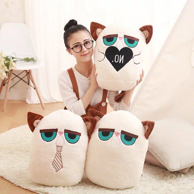 Super Cute 1PC 40X30Cm magic castle Angry Cat Plush 3 Styles PP Cotton Dolls Stuffed Animal Kids Birthday Gift