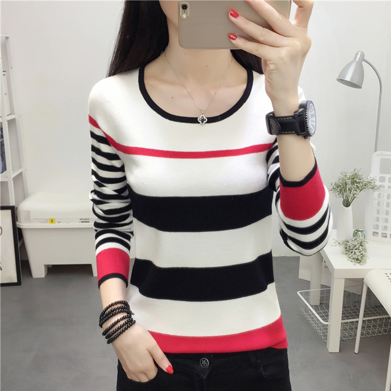 2018 Fashion New Women Sweaters and Pullovers Autumn Round neck Color Stripe Knitted Sweater Leisure Tops Pull Femme