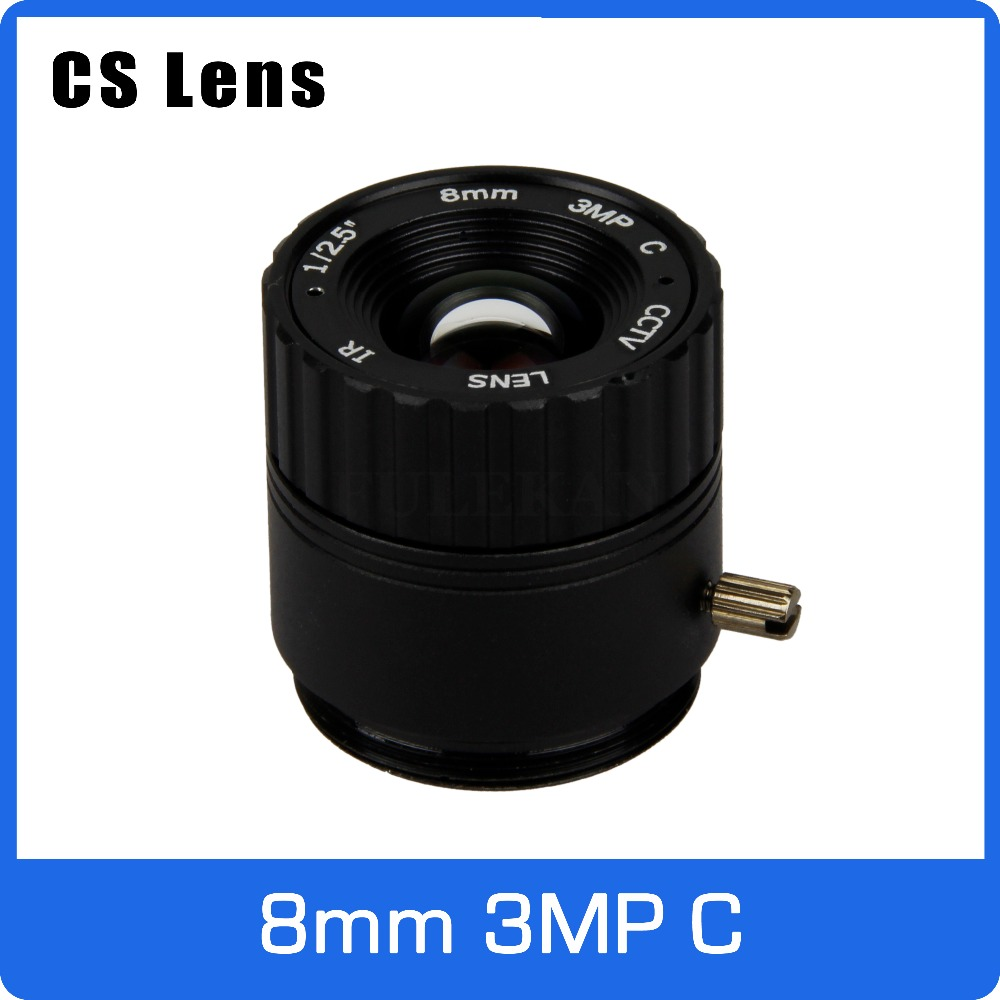3Megapixel Fixed CS Mount CCTV Camera Lens 8mm For 720P/960P/1080P IP camera and AHD/CVI/TVI Camera Free Shipping 8mm 12mm 16mm cctv ir cs metal lens for cctv video cameras support cs mount 1 3 format f1 2 fixed iris manual focus