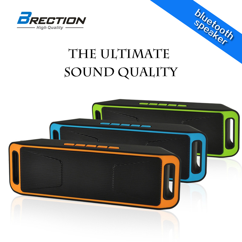 Brection S208 Super Bass Sound Bluetooth Speaker Portable Wireless Stereo Subwoofer TF USB FM Radio Built-in Mic Dual