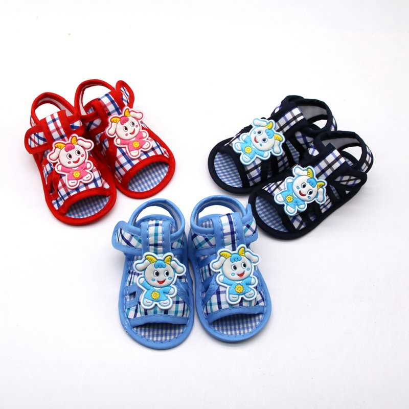 Animal Lamb Plaid Print Baby Boy Girl Cotton Shoes Casual Soft Sole Shoes