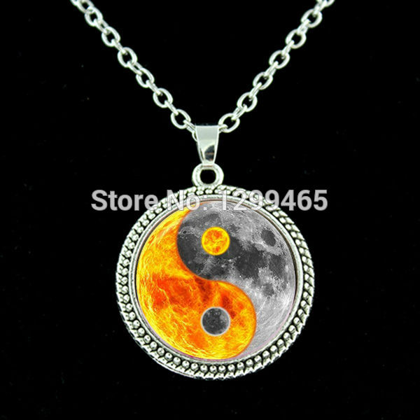 Chinese Taoism sign ancient Eight Diagrams Chakra necklace Yin Yang pendant Tao TAIJI statement choker necklace N 059