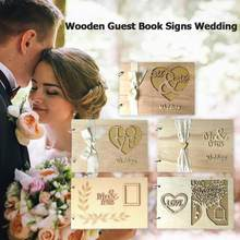 20pcs Wooden Guest Book Signs Wedding Romantic Marriage Guestbook Decoration Hollow Message Book Notebook Wedding Accessories(China)