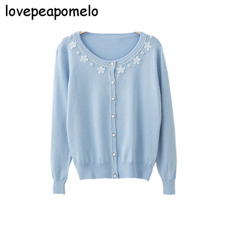 Women's Sweater Spring And Autumn Big Size Beading Knitted-Sweater 2018 New Floral Vintage Cardigan Fashion Embroidery Tops J408