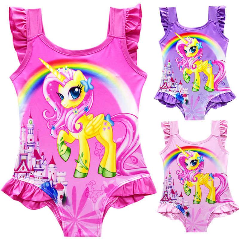 17a2d86affacd 2019 Summer Princess Girls Unicorn Bikini One Piece Baby Girls Unicorn  Dress Children Rainbow Horse Beach