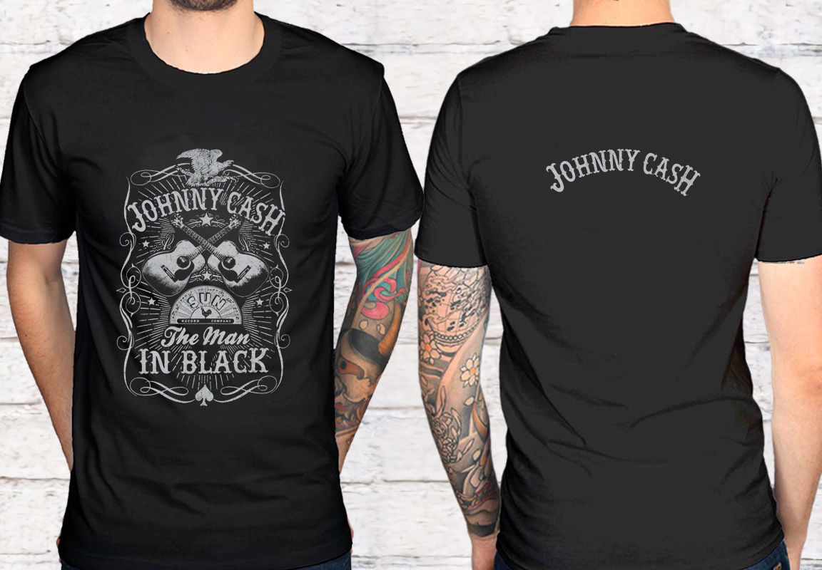 2 Sidetorrid Plus Size Johnny Cash Man In Black Black T Shirt Tee Shirt Xs 2Xl ...