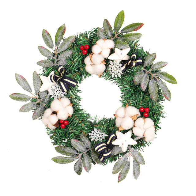 Christmas Wreath Creative Pinecone Snow Decoration For Home Outdoor Door Window 35cm