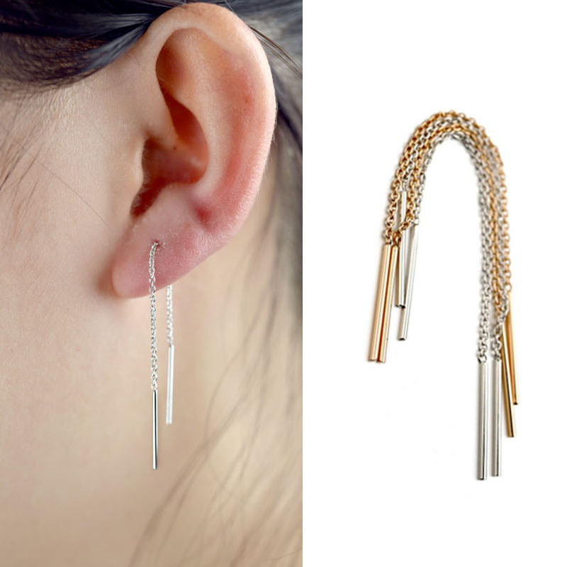 Fashion Simple Long Chain Pending Earrings Rose Gold and Silver Color Ear Line Piercing Earrings for Women золотые серьги по уху