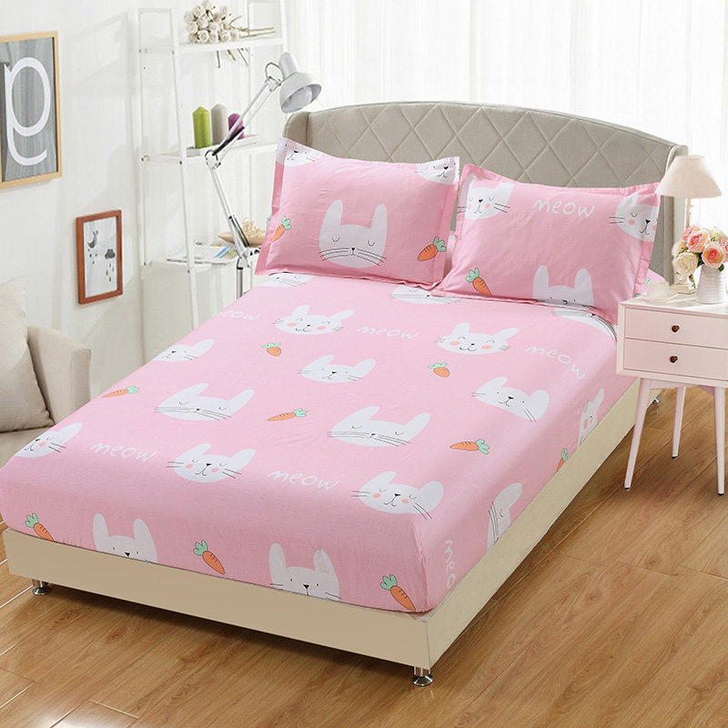 pink white cute cartoon princess cat bedding high quality cotton twin full queen king size. Black Bedroom Furniture Sets. Home Design Ideas