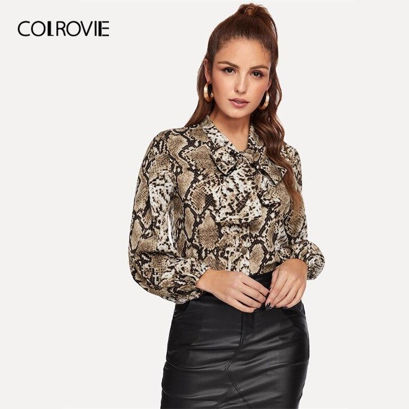 COLROVIE Animal Snake Print Knot Neck   Blouse     Shirt   Women Tops 2019 Spring Fashion Streetwear Long Sleeve   Shirts   Female Tee