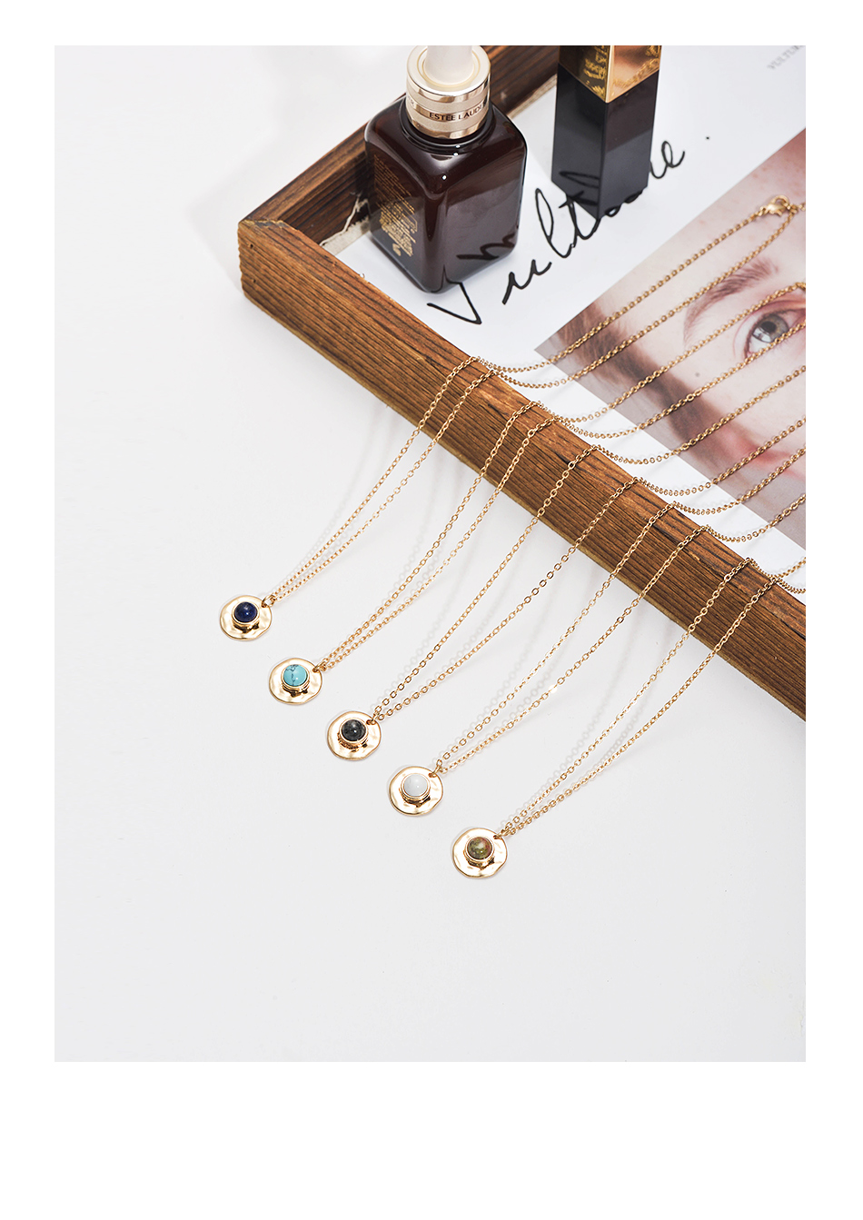 Wild&Free Multi Colors Stone Pendant Necklace For Women Girls Boho Round Charming Necklaces Jewelry Best Friend Gifts 5