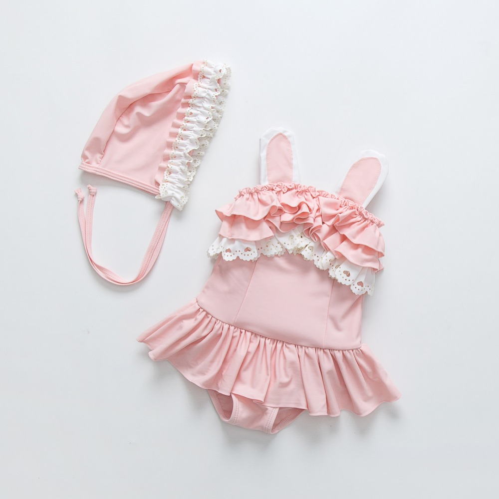 baby swimwear for girls kids summer biquini infantil swimsuits falbala bikini cartoon flamingo lace bathing clothes for girl in Children 39 s Two Piece Suits from Sports amp Entertainment
