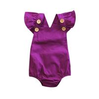 2017 Newborn Infant Toddler Baby Kids Girls Purple Cotton   Romper   Jumpsuit One-Piece Clothes Playsuit 0-3T