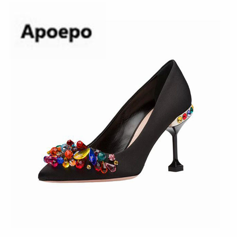Apoepo brand Luxury colors diamond pumps sexy black Satin high heels pumps shoes women real picture party ladies shoes 2018 карабин black diamond black diamond rocklock twistlock