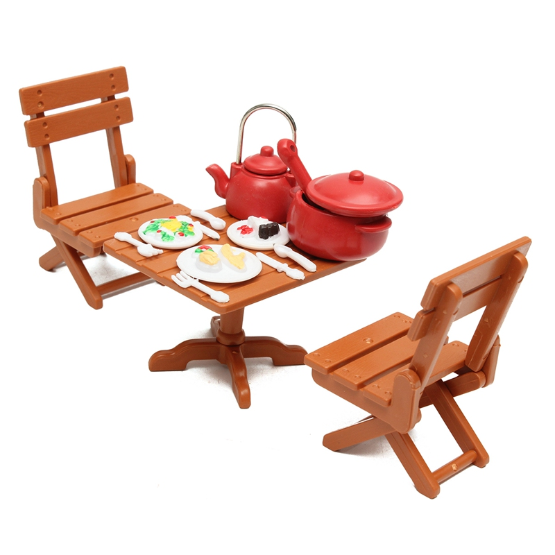 Kiwarm 1 Set Miniatures Kitchen Dining Furnitures Table Chairs With Cooking Tools Dolls Ornaments For Home Decor Kids Toy Gift In Figurines