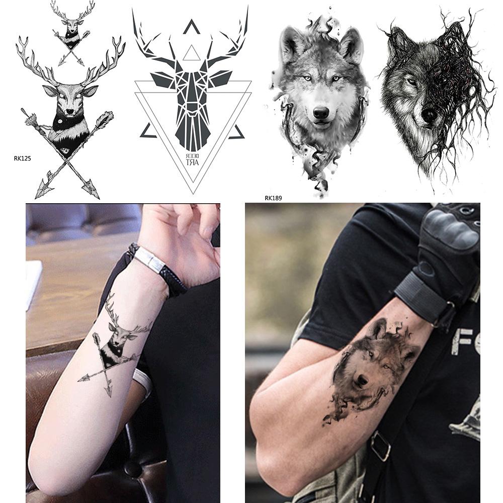 Us 041 10 Offgeometry Moose Tattoo Men Sexy Stickers Deer Temporary Tattoo Women Arrow Triba Wolf King Totem Water Transfer Tatoos Black In