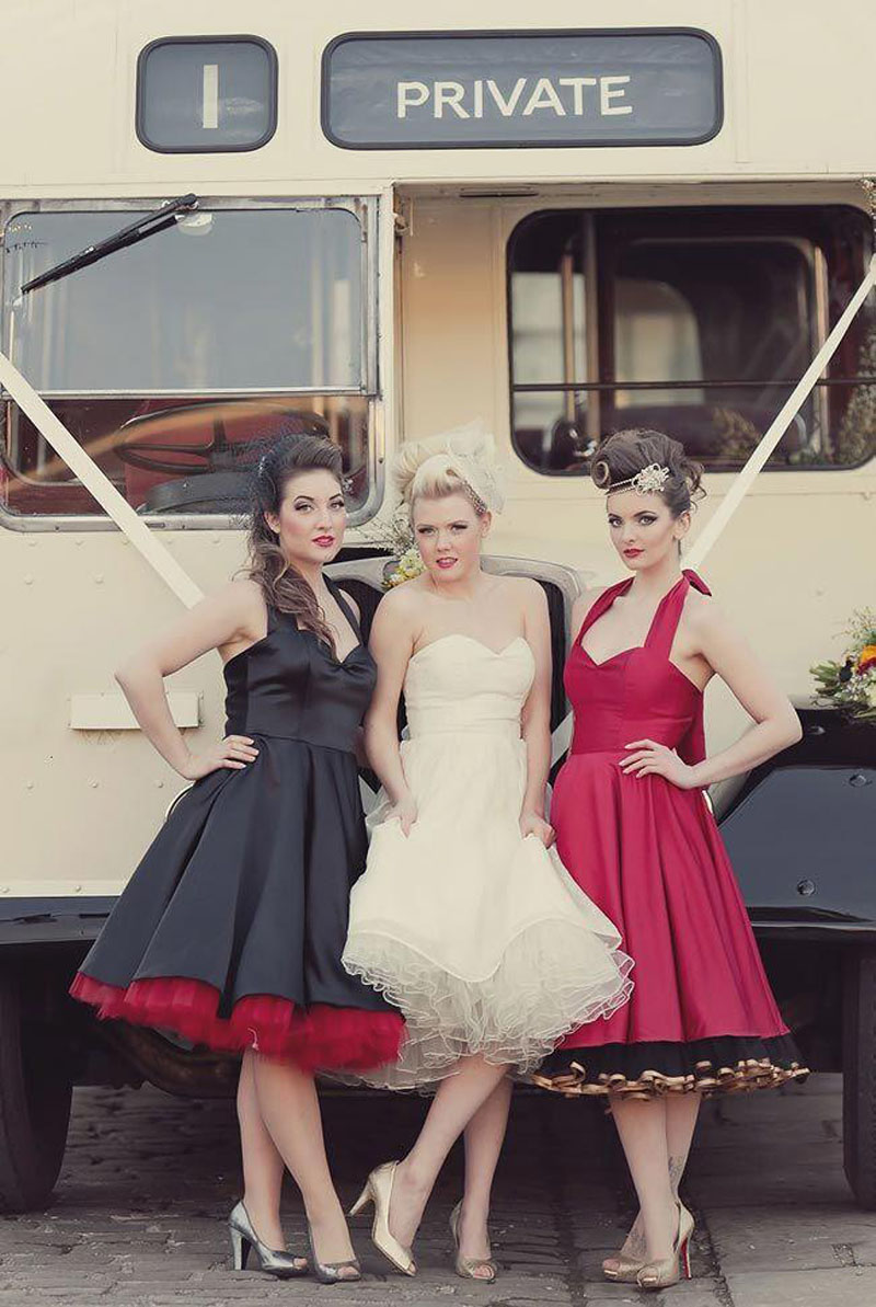 Vintage 50s bridesmaid dresses 2017 with build in colorful vintage 50s bridesmaid dresses 2017 with build in colorful petticoat halter neck formal gown knee length ruffly party gown in bridesmaid dresses from ombrellifo Choice Image