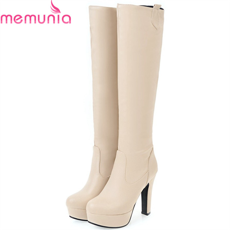 MEMUNIA 2018 New arrive knee high boots fashion shoes in autumn winter boots female PU soft leather platform shoes size 34-45 leather in the boots 2017 autumn and winter new fashion waterproof taiwan with rivets leather pointed high heeled female shoes