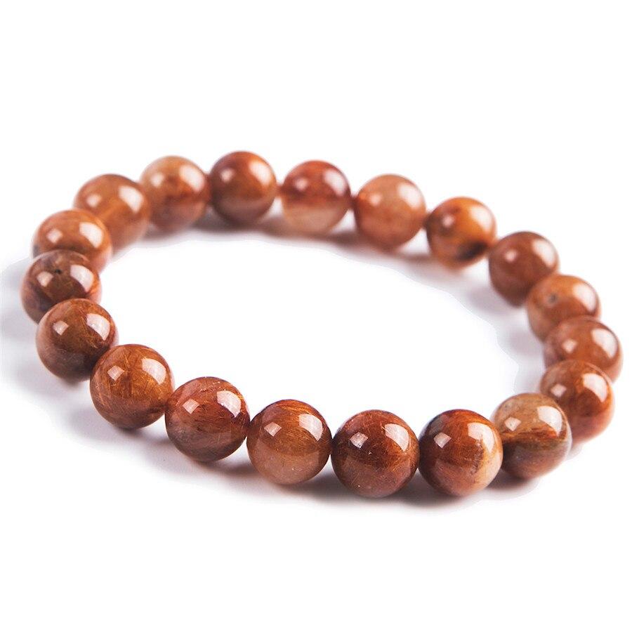 Bracelet de perles puissantes pour hommes en cristal de Quartz rutilé à l'aiguille de cuivre véritable naturel 10 MM