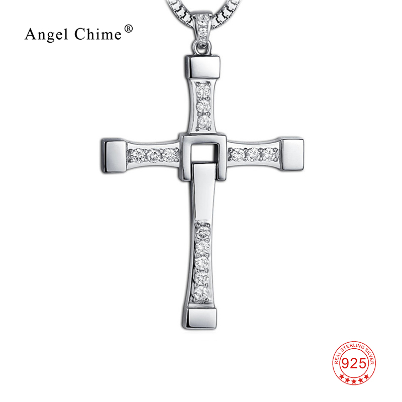 925 Sterling Silver Cross Necklace Fast and Furious Jewelry Cubic Zirconia Christmas Necklaces Best Gifts GNX8781