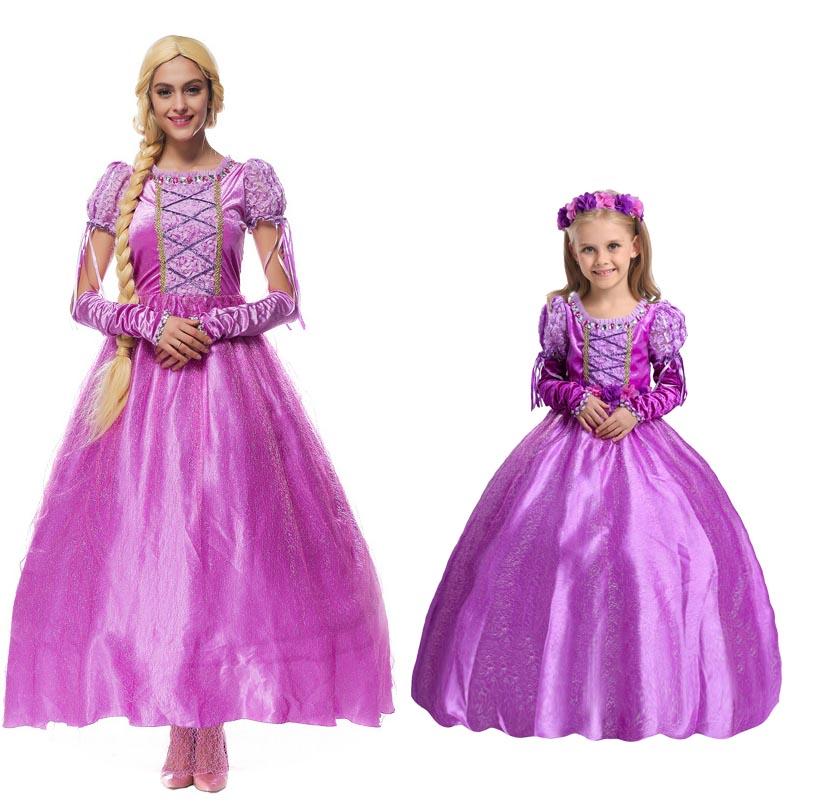 Halloween Adult Rapunzel Costume Tangled Fancy Dress Women Kid Girls Cosplay Tangled Rapunzel Princess Costume For Women Purple