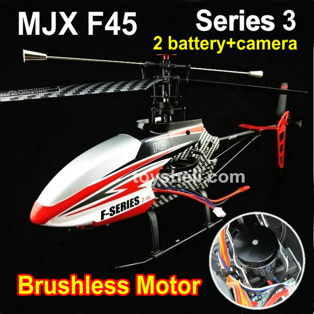 hot sale MJX 2.4g 4ch remote control helicopter model MJX F45 with brushless motor -2 battries and camera