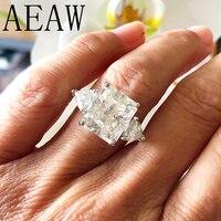AEAW 7ct Сияющий граненый муассанит обручальное кольцо 1.60ct триллион муассанитов юбилейное кольцо Solid 14 К к белое золото для женщин