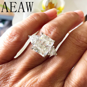 AEAW 7ct Radiant Cut Moissanite Engagement Ring 1.60ct Trillion Moissanites Anniversary Ring Solid 14K White Gold for Women