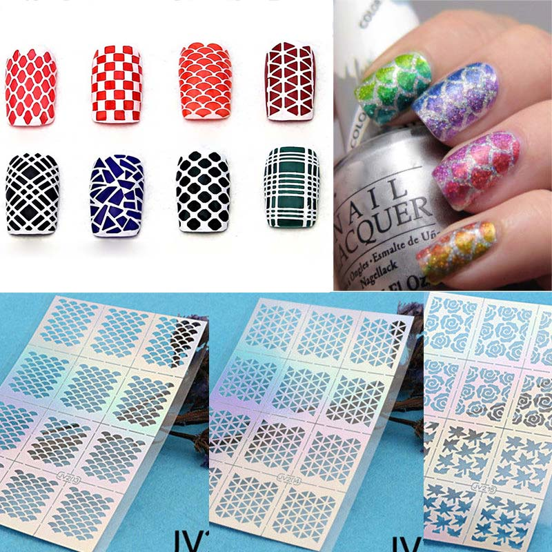 12 Tips/Sheet Fish Scale Nail Vinyls Irregular Triangle