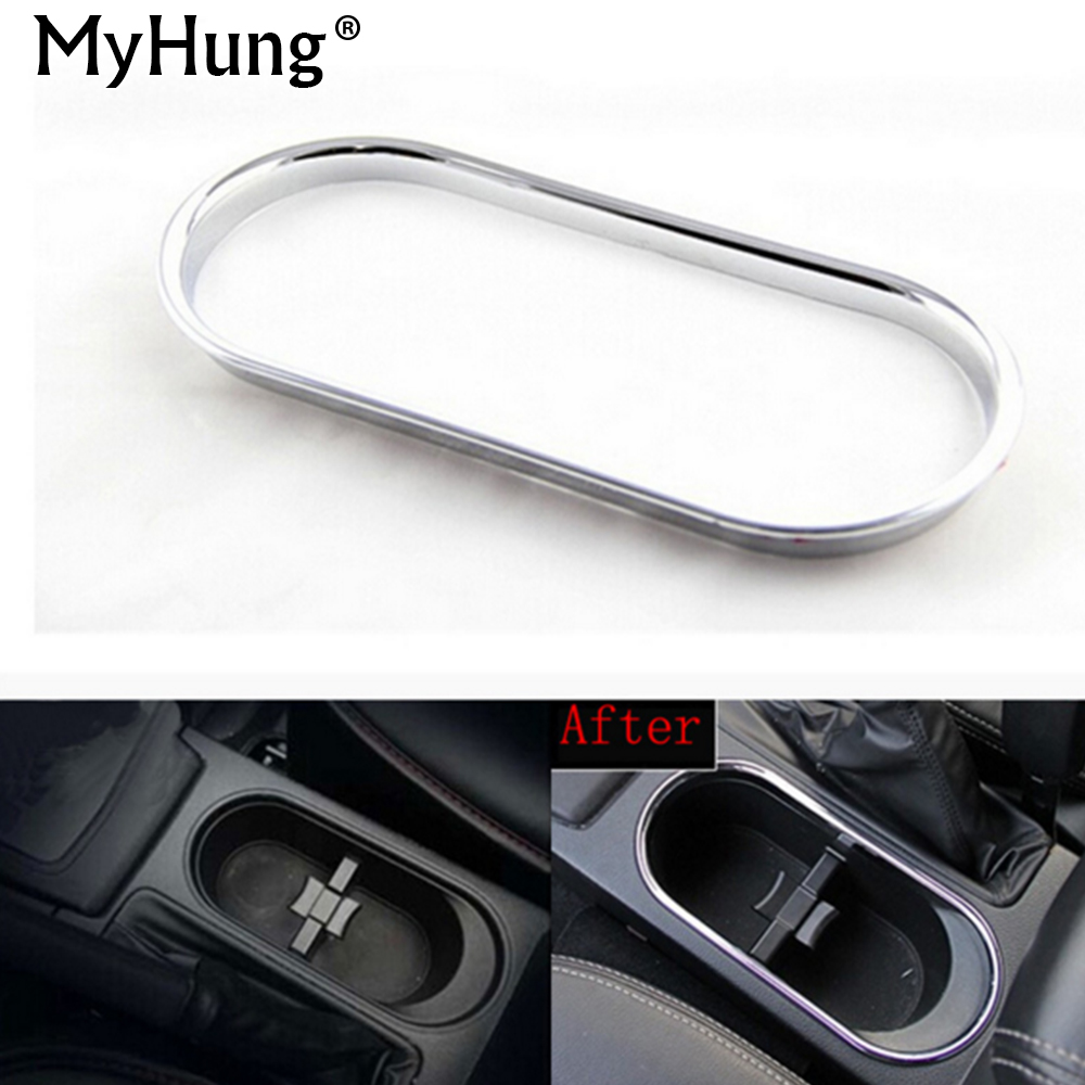 For SUBARU Forester 2013 2014 2015 Car Water Cup Holder Decoration Box Sticker Abs Chrome Trim Auto Accessories 1pc