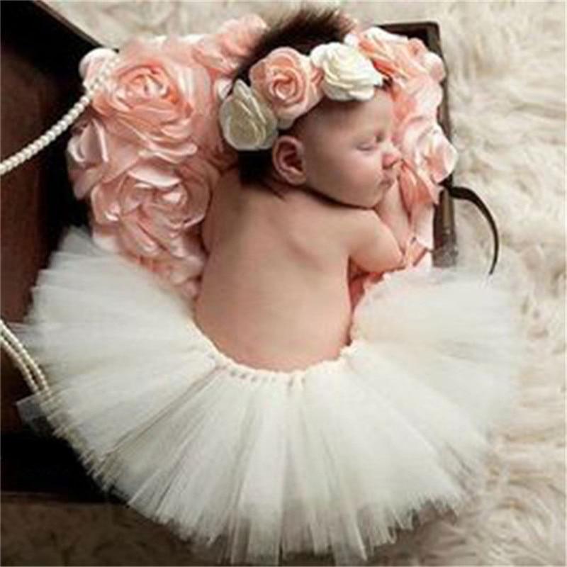 Newborn Photography Props Baby White Tutu Skirt Infant Photo Costume Elegant Design Photo Props Lace Dress and Headband цена