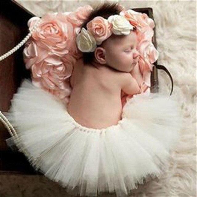 Newborn Photography Props Infant Costume Floral Headband + Skit Princess Tutu Baby Photo Props