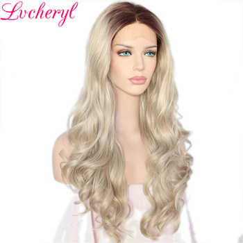 Lvcheryl Long Natural Ombre Dark Roots To Blonde Body Wave Hand Tied Heat Resistant Hair Synthetic Lace Front Wig for Women