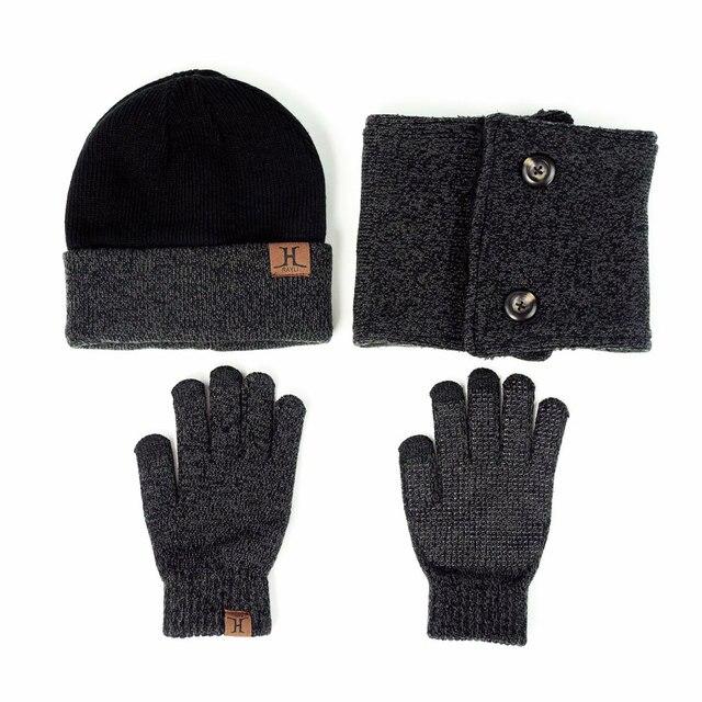 Gloednieuwe Winter 3 stuks Beanie Sjaal Handschoenen set
