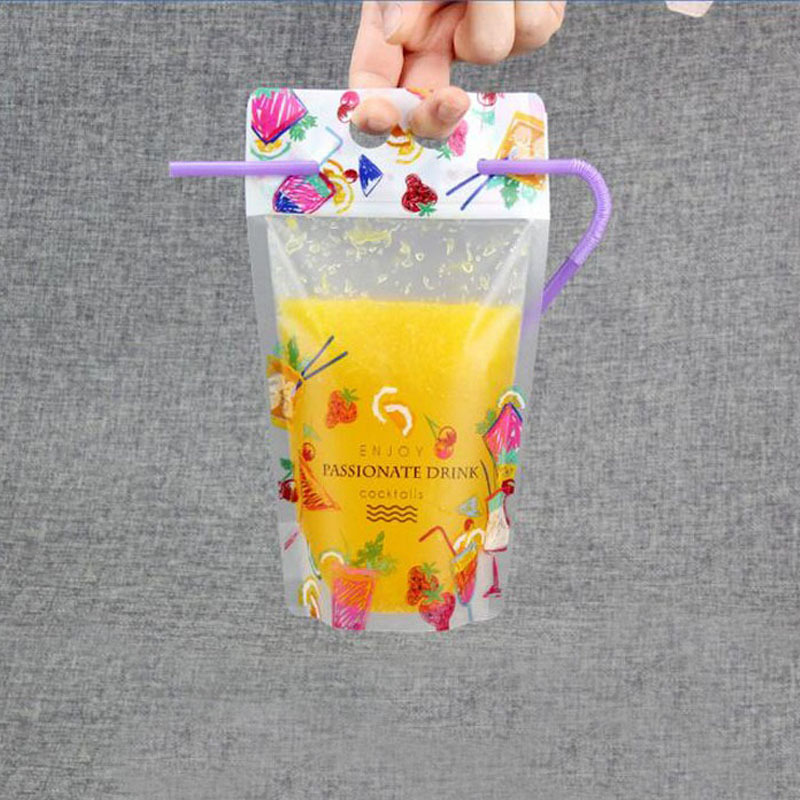 Clear Stand-up Beverage <font><b>Drink</b></font> Coffee Plastic Packaging Bag Resealable Juice Storage Pouch With Straw 500pcs ZA5674 image