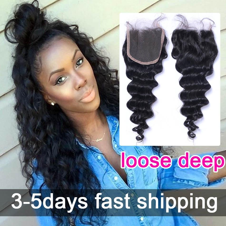 Eurasian Virgin Hair Loose Deep Top Lace Closurefreemiddleside3
