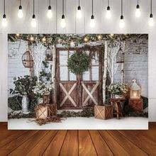 خلفية صور لحديثي الولادة ، طوب أبيض ، أبواب خشبية ، ألعاب كرمة عشب ، عيد الميلاد ، استوديو صور للأطفال
