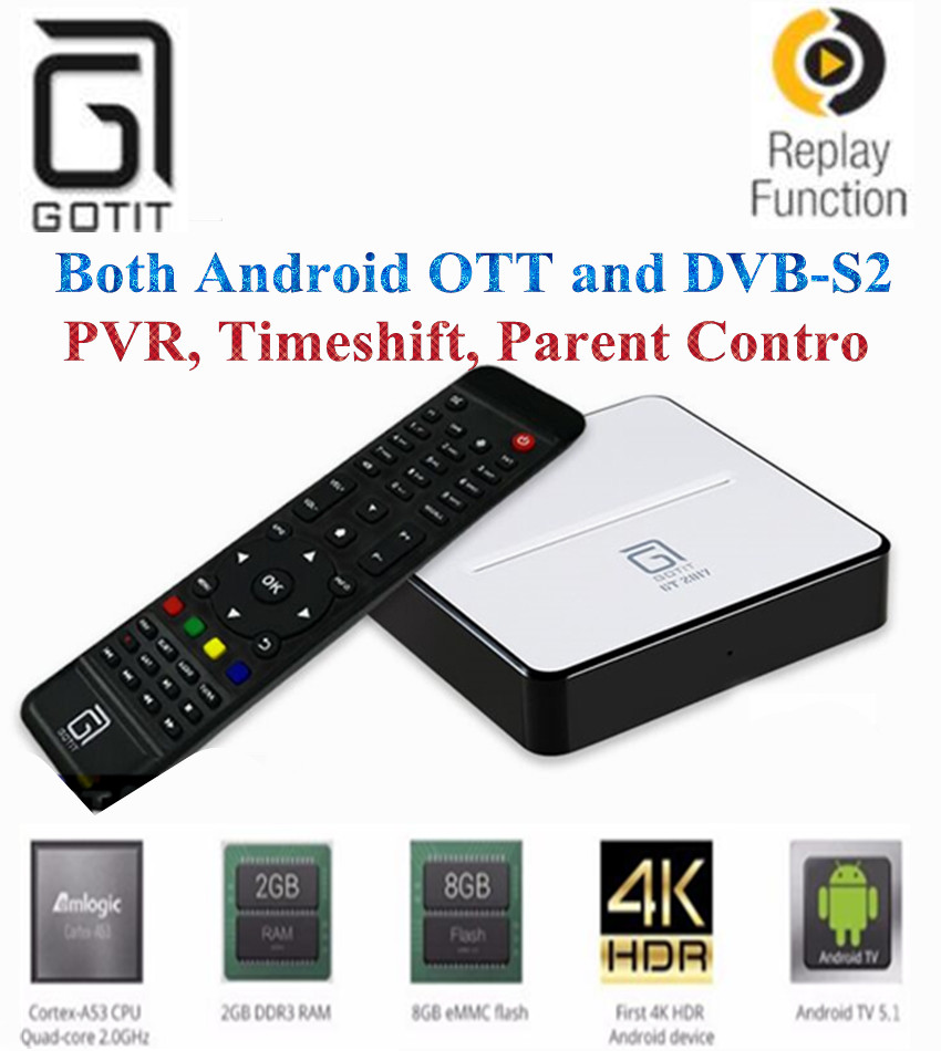 GOTiT GT2017 Android5.1 AmlogicS905 DVB-S2 Satellite Receiver 2/8G DDR& Flash Penta-cord Mali-450 PVR, Timeshift android TV Box [genuine] freesat v8 golden dvb s2 t2 c satellite tv combo receiver support powervu biss key cccamd newcamd n usb wifi optional
