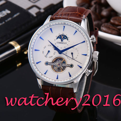 Luxury 44mm Corgeut Moon Phase White Dial Blue Hands automatic movement men's Watch