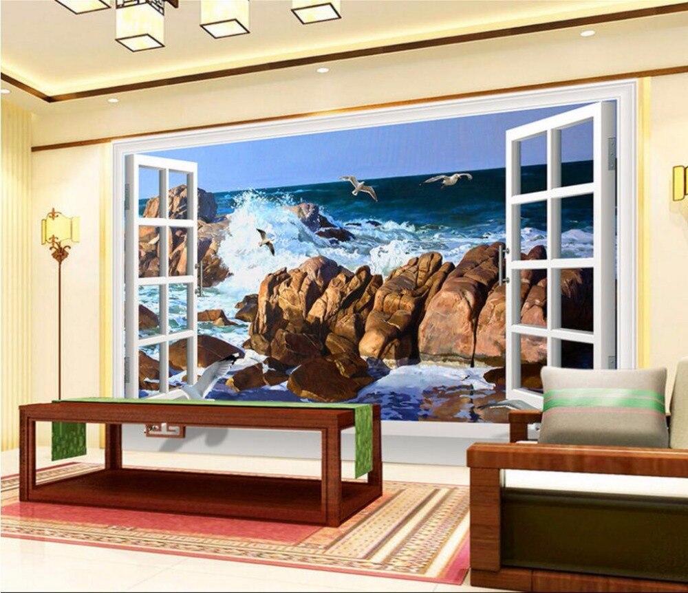 3d carta da parati personalizzata mural beach sea gull pittura carta da parati casa decorazione - Decorazione pareti soggiorno ...