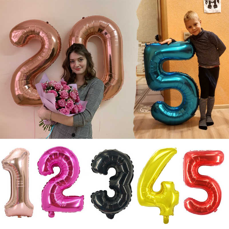 1pc 40inch Gold Sliver Number Foil Balloons Birthday Party Decorations Kids Wedding Decorations Globos Rose Gold Party Supplies