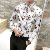High Quality Men Floral Shirt 2018 Spring New Slim Fit Long Sleeve Tuxedo Shirts For Men
