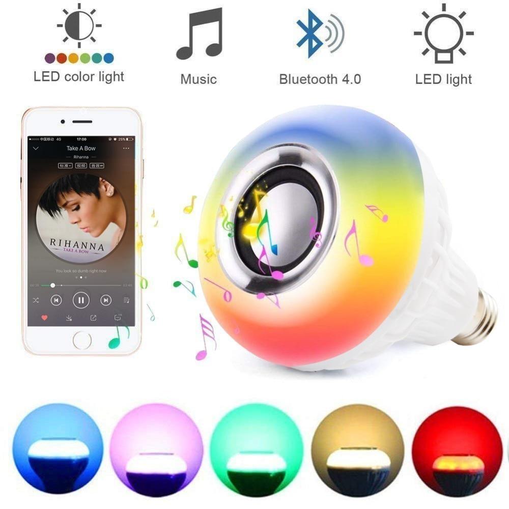12W RGB LED Music E27 Light Bulb w/ Wireless Bluetooth Speaker Smart Player Audio 24 Keys Remote Control Home Bedroom Decoration