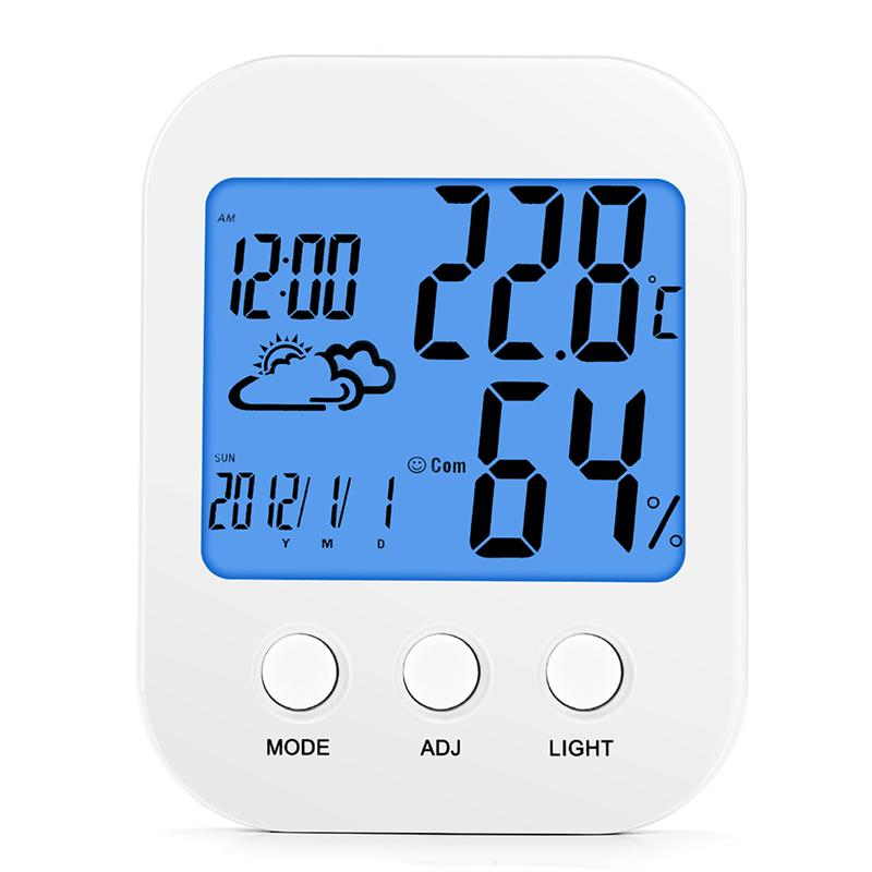 Multi-Functional Alarm Clock With Time Date Temperature Humidity Display Battery Operated