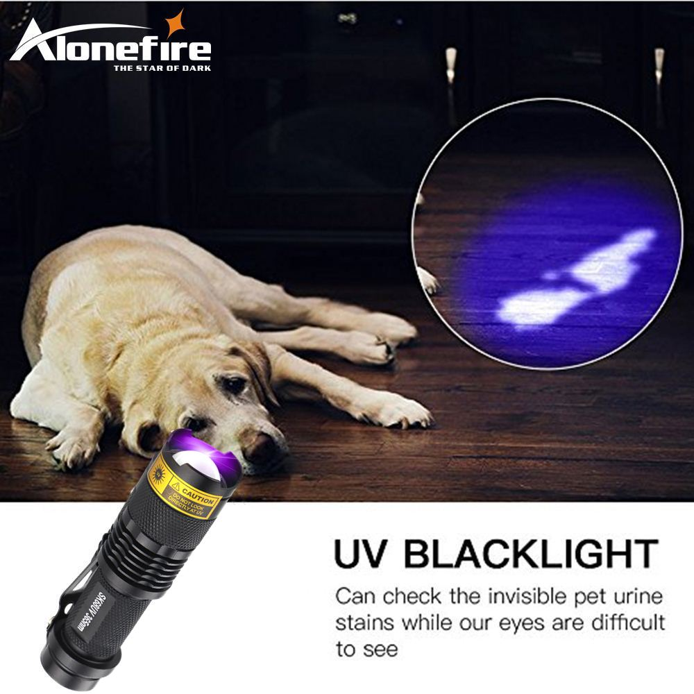 ALONEFIRE SK68uv LED UV Flashlight Purple Violet 365nm Light Adjustable Focus 1Modes Light Lamp Uesd By AA Or 14500 Battery