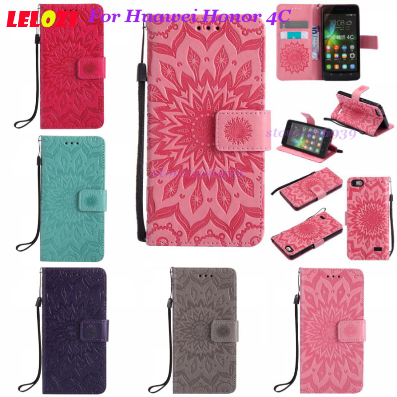 LELOZI Girl Vintage Flip Smartphone Celulares PU Leather TPU Case Cover Fundas For Huawei Honor 4C 4 C Pink Blue Sunflower