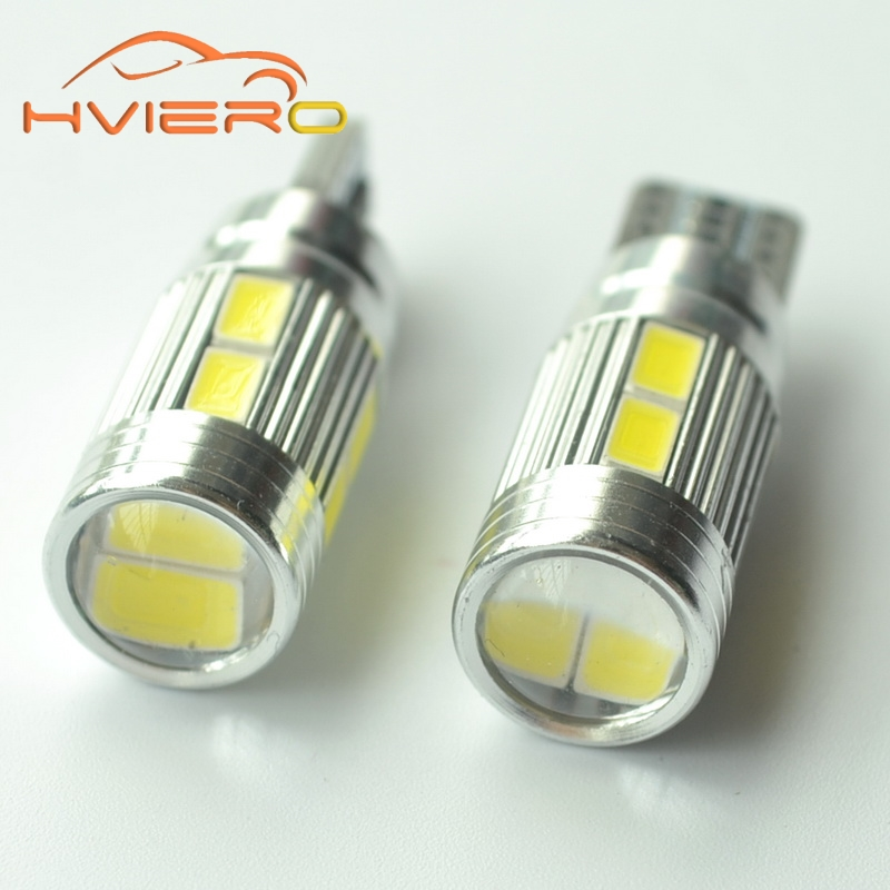 10Pcs T10 194 W5W White 10 smd 5630 DC 12v Car Auto Parking Light Hviero Led W5W Xenon NO OBC ERROR Car Side Bulb Car Styling car led 1pcs t10 194 w5w dc 12v canbus 6smd 5050 silicone shell led lights bulb no error led parking fog light auto car styling
