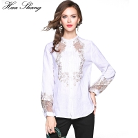 2017 Fashion Women Autumn Long Lantern Sleeve Embroidery Blouses Elegant Mesh Transparent OL Lady Work Office