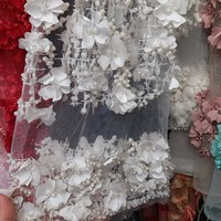 Latest applique 3d flowers design african french lace embroidered tulle lace fabric , African net lace for wedding dress