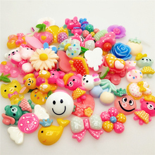 10/30Pcs Mix Design  Color Resin Flat Back Cabochon Art Supply Decoration Charm Craft Sun Flowers Candy Bear
